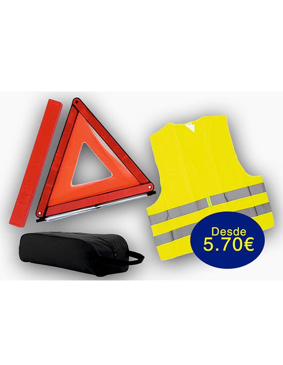 oferta kits de emergencia, seguridad vial, triángulo homologado, chaleco homologado, chaleco reflectante, bolsas de emergencia,