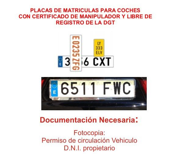 Placas de matriculas para coches motos todo terrenos